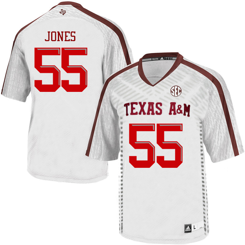 Men #55 Adarious Jones Texas A&M Aggies College Football Jerseys Sale-White