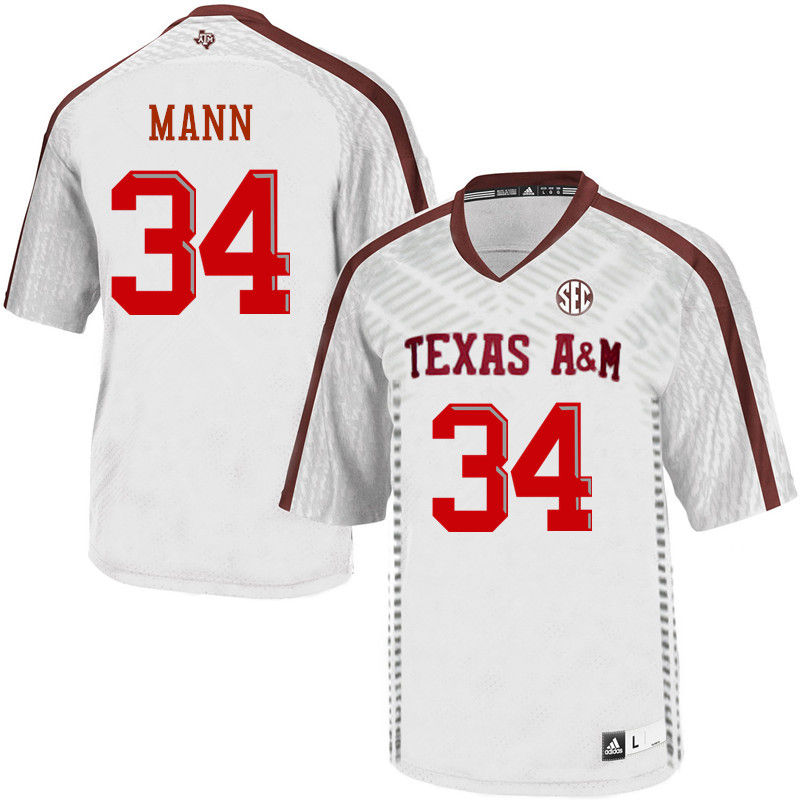 Men #34 Braden Mann Texas A&M Aggies College Football Jerseys-White