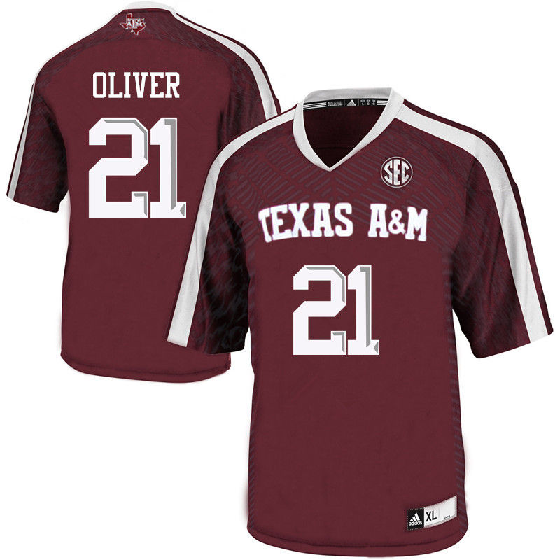 Men #21 Charles Oliver Texas A&M Aggies College Football Jerseys-Maroon