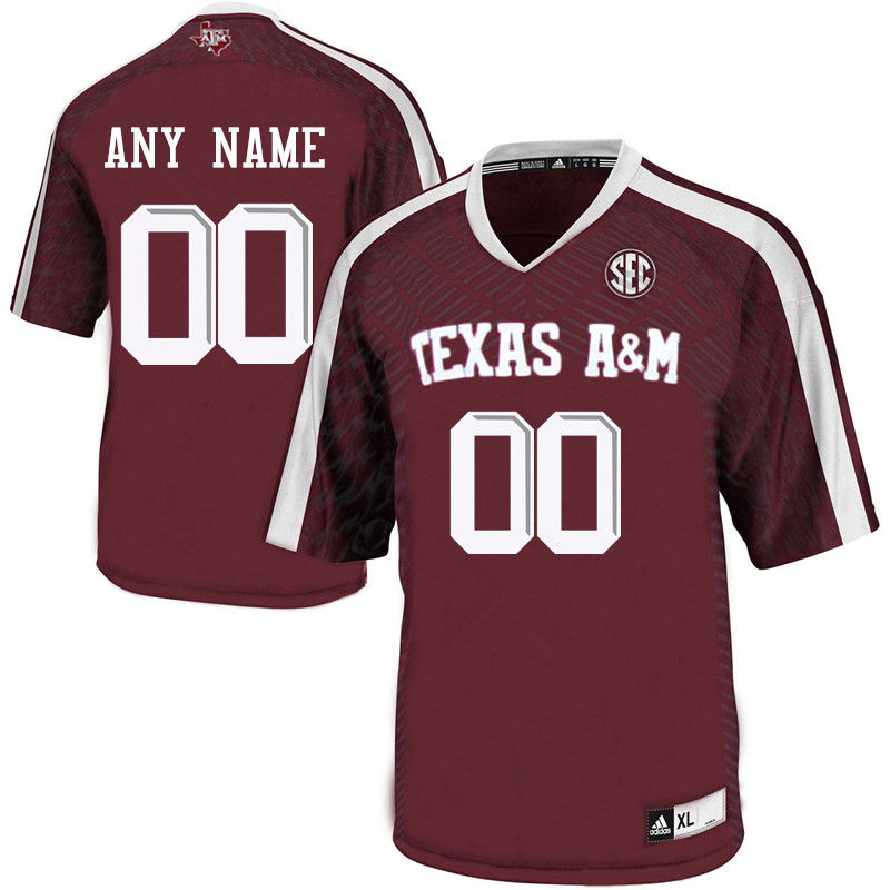 Customs Texas A&M Aggies Men College Football Jerseys-Maroon