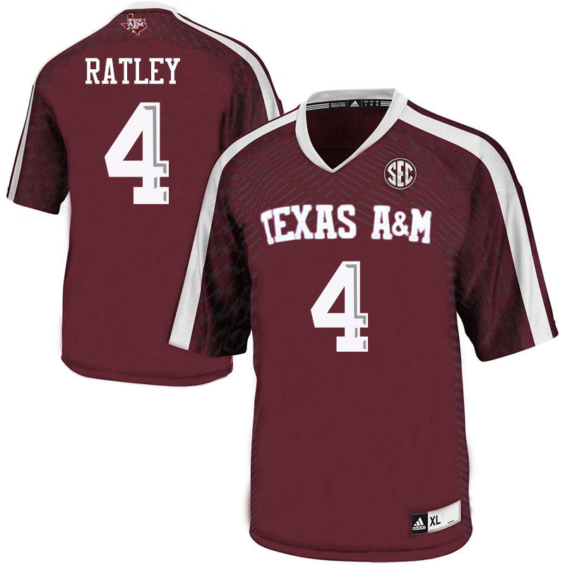 Men #4 Damion Ratley Texas A&M Aggies College Football Jerseys-Maroon