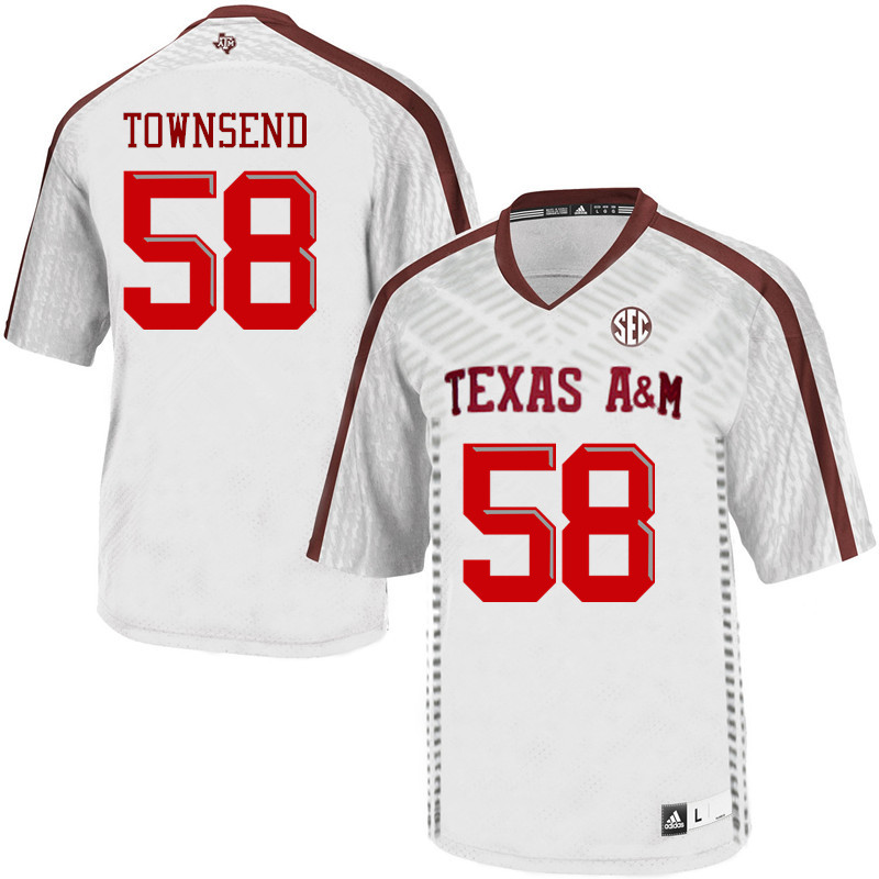 Men #58 Garrett Townsend Texas A&M Aggies College Football Jerseys Sale-White