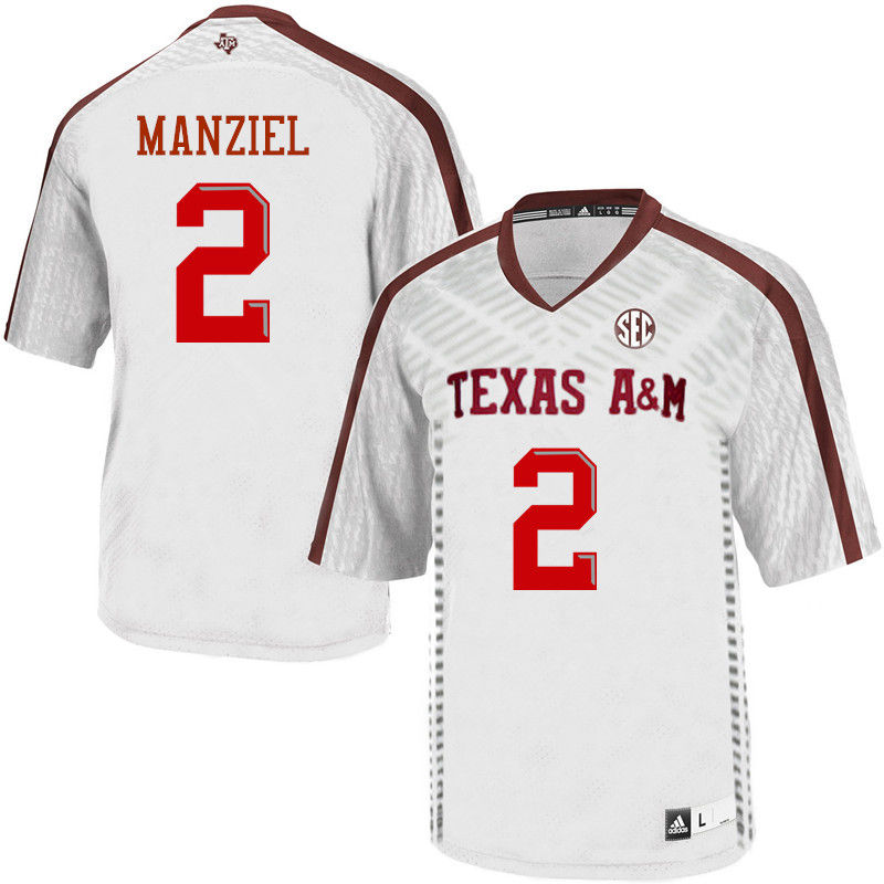 Men #2 Johnny Manziel Texas A&M Aggies College Football Jerseys-White