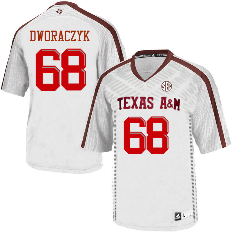 Men #68 Justin Dworaczyk Texas A&M Aggies College Football Jerseys-White