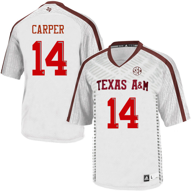 Men #14 Keldrick Carper Texas A&M Aggies College Football Jerseys-White