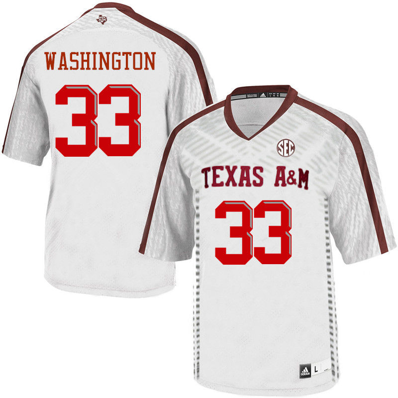 Men #33 Shaan Washington Texas A&M Aggies College Football Jerseys-White